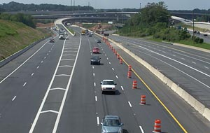 Newly opened portion of I-95/I-695 Interchange Contract 1